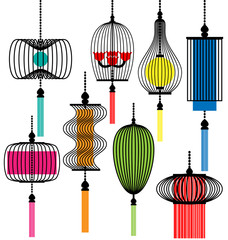 Modern lamp vector set
