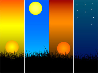 Sunset, sunrise and night vector banners