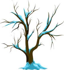 Winter tree vector isolated