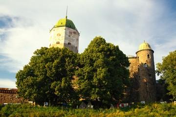 Vyborg Castle in sunset light