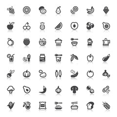 Vegan food flat icons with reflection