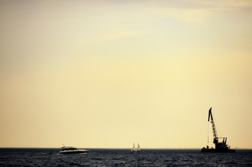 Working crane in sea