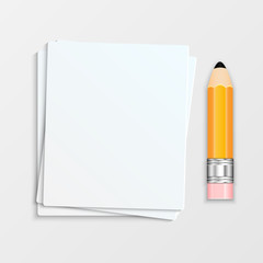 Pencil and a stack of paper sheets