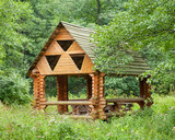 wooden Gazebo in forest
