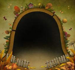 Textural background with  fabulous autumn landscape.