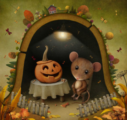 Conceptual illustration for Halloween with  mouse and  pumpkin