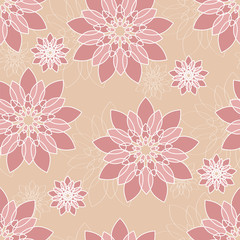 Seamless floral pattern in pink tones