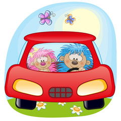 Two Hedgehogs in a car