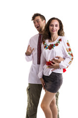 Couple in Ukrainian national clothes