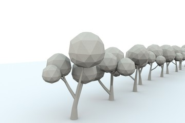 low-poly avenue of trees