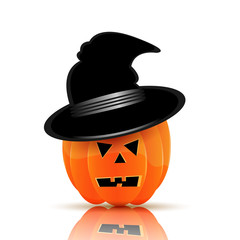 Pumpkin in black hat for Halloween isolated on white background