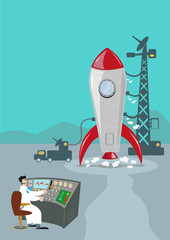 Retro Rocket Launching and Ground Control Scientist. Vector