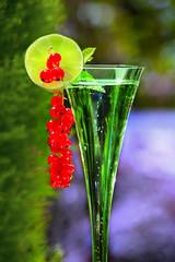 Sektglas mit Früchten