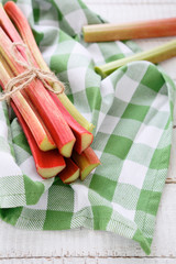 bunch of rhubarb stalks