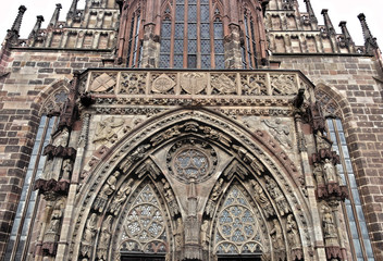 Facade of Frauenkirche Nuremberg Germany
