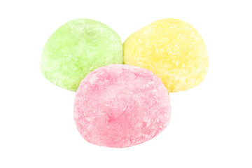 Close up colorful of daifuku dessert from japanese isolated