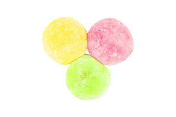 Colorful of daifuku dessert from japanese isolated