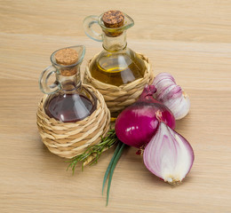 Oil, vinegar with onion