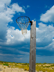 Old basketball hoop.