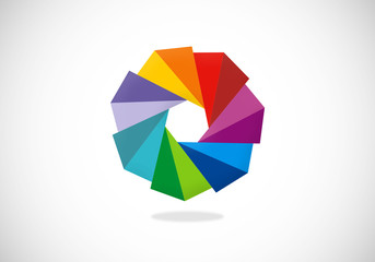 colorful circular triangle vector logo