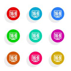 16 9 display flat icon vector set