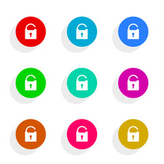 secure flat icon vector set