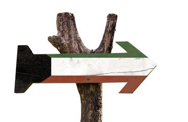 Kuwait wooden sign isolated on white background