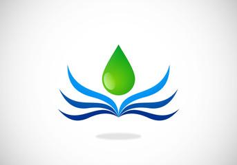 water drop wave abstract vector logo