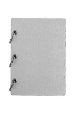 notebook with a cover from fabric of gray color