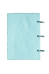 open notebook with pages of blue color