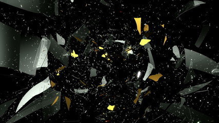 Glass and golden dollar symbol shattered slow motion. Alpha