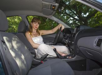 Woman drives the car