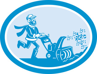 Man With Snow Blower Oval Cartoon
