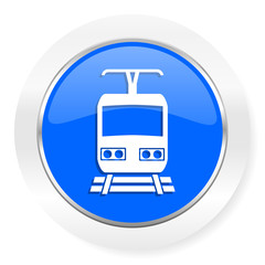 train blue glossy web icon