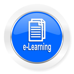 learning blue glossy web icon