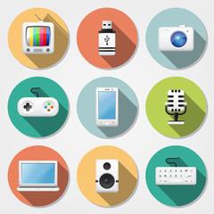 Multimedia flat icons