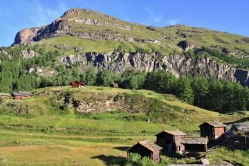 view of tourist trail near the Matterhorn in the Swiss Alps