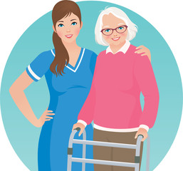 Elderly patient and a nurse