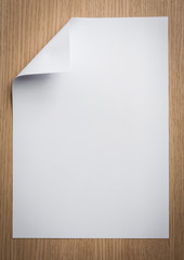 Blank paper on the wood background