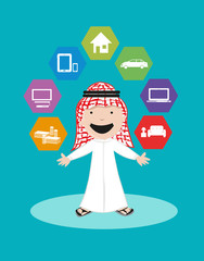 Arab Man Vector. Financial Security and Banking Solutions.