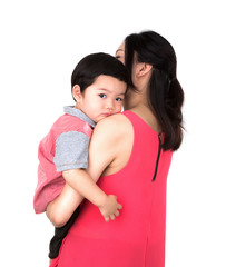 Mother with a child on a white background