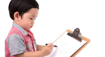 Young boy writing isolated on white background