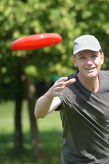 Man with frisbee