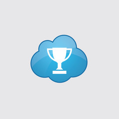 Blue cloud winner cup icon