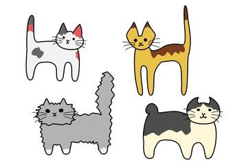 立っている猫たち