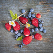 Berries on rustic wood background