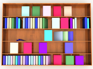 wooden shelf with books of different colors