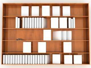 wooden rack with white books
