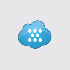 Blue cloud rain icon.