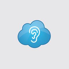Blue cloud ear icon.